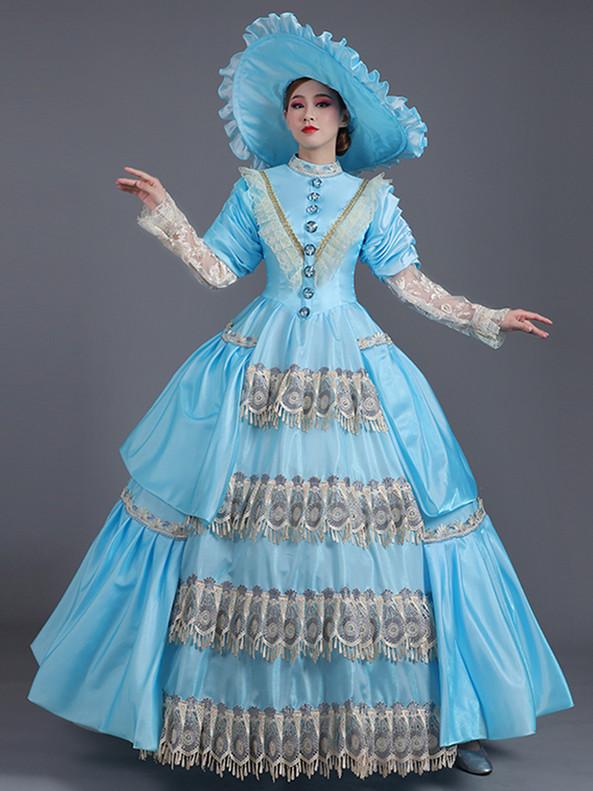 Light Blue Satin Long Sleeve High Victorian Dress