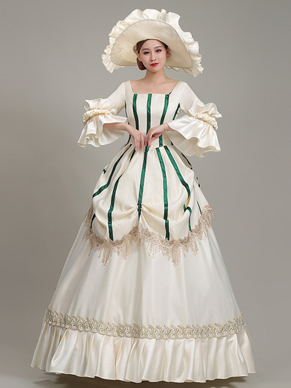 Champagne Satin Square Long Sleeve Rococo Dress