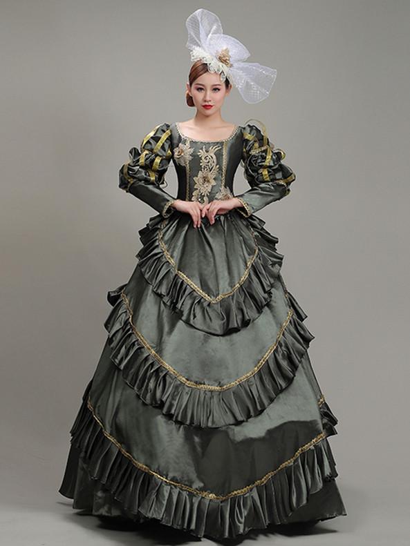 Satin Long Sleeve Appliques Rococo Baroque Dress