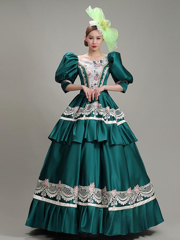 Green Satin Lace Puff Sleeve Victorian Dress