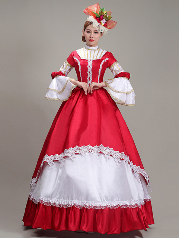 Red Satin White Lace Long Sleeve Rococo Baroque Dress