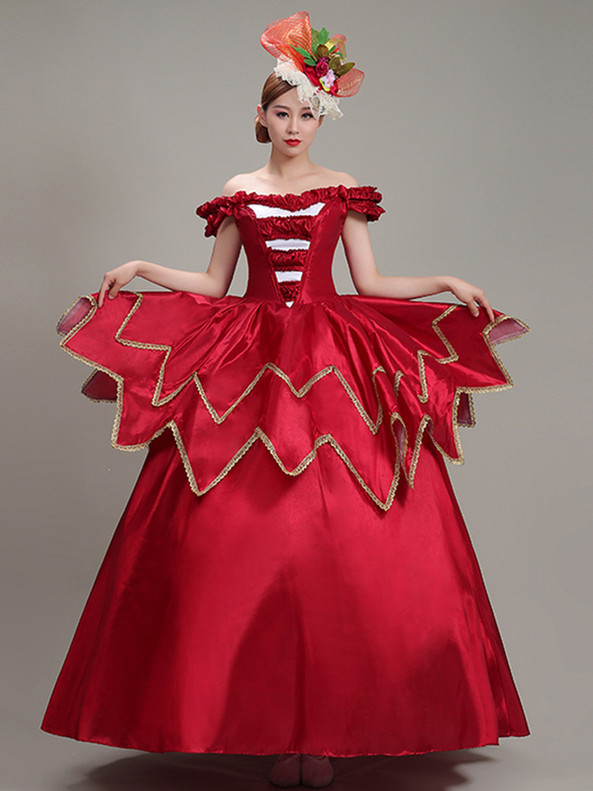 Red Satin Off the Shoulder Rococo Baroque Dress