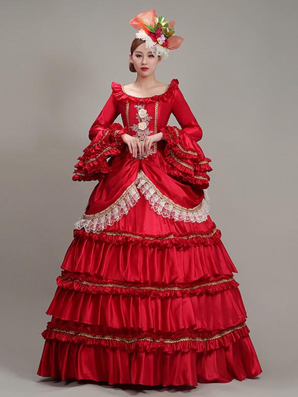 Red Satin Bateau Long Sleeve Appliques Victorian Dress