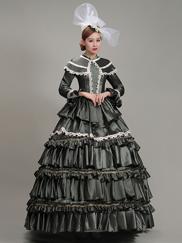 Ball Gown Satin Long Sleeve Tiers Baroque Dress