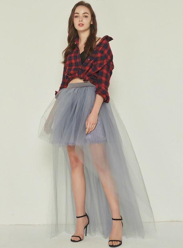Gray Hi Lo Tulle Tutu Skirt