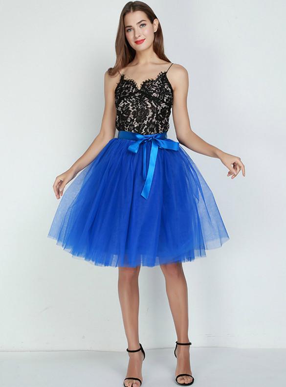 Women Royal Blue Tulle Tutu Skirt