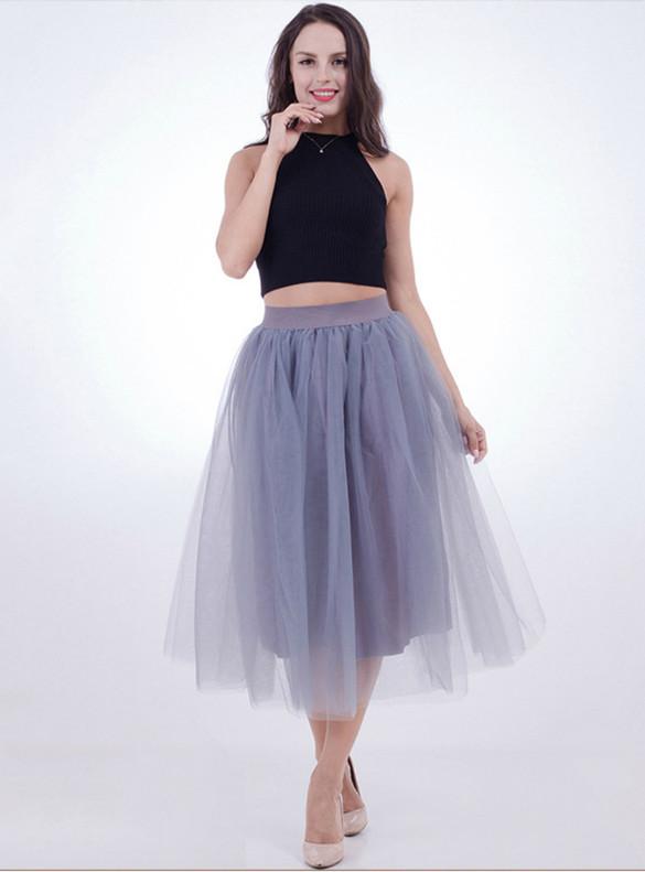 Women Gray Tulle Tutu Skirt