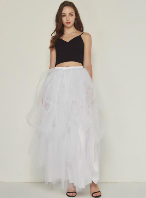 Women White Irregular Tulle Skirt