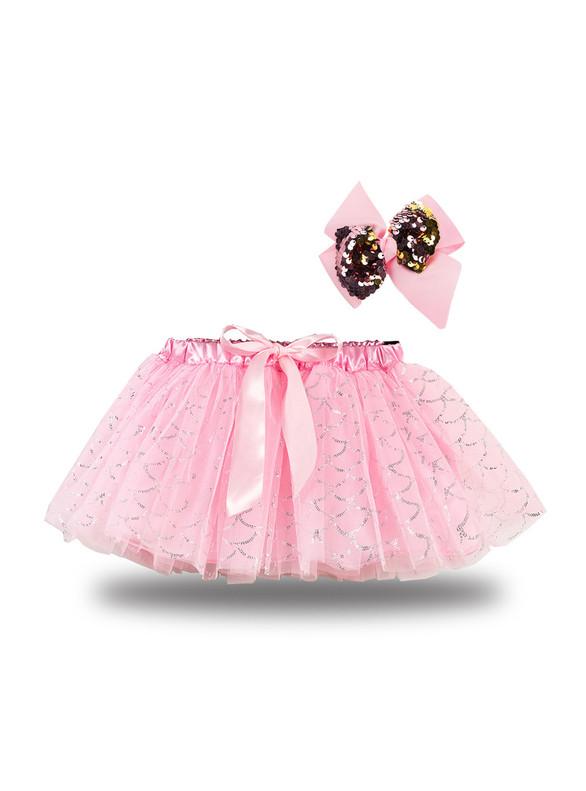 Pink Tulle Sequins Tutu Skirt