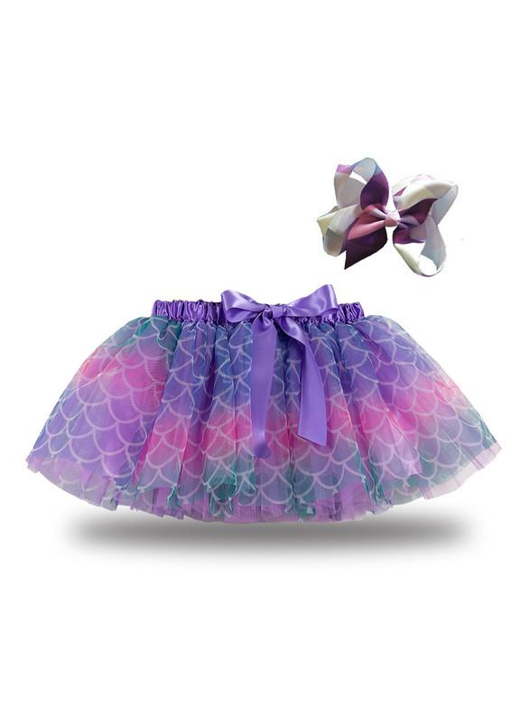 Purple Tulle Fish Scale Tutu Skirt