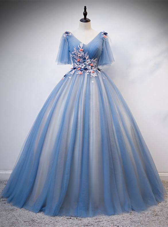 Blue Ball Gown Tulle V-neck Pleats Appliques Quinceanera Dress