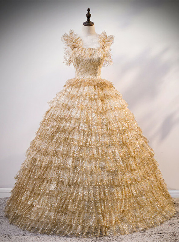 Gold Tulle Sequins Straps Tiers Quinceanera Dress