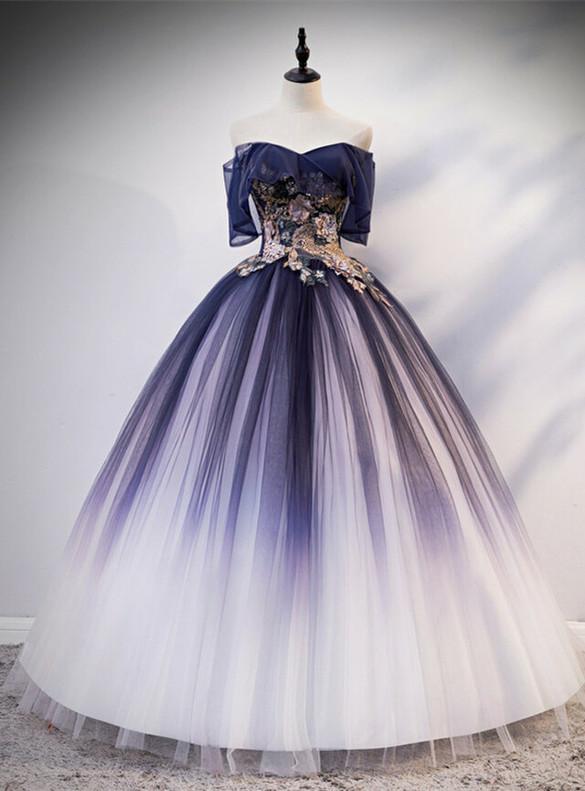 Navy Blue Tulle 3D Appliques Quinceanera Dress
