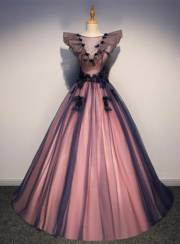 Blue Pink Tulle Appliques Beading Quinceanera Dress