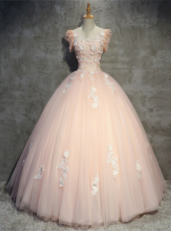 Pink Tulle 3D Appliques Backless Quinceanera Dress
