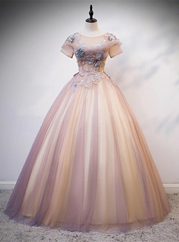 Pink Purple Sequins Tulle Appliques Quinceanera Dress