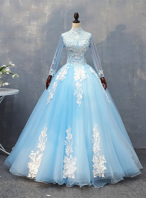 Blue Tulle Appliques Beading Long Sleeve Quinceanera Dress