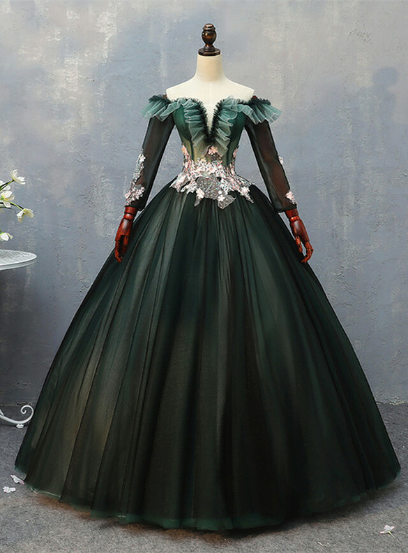 Dark Green Tulle Long Sleeve Embroidery Appliques Quinceanera Dress