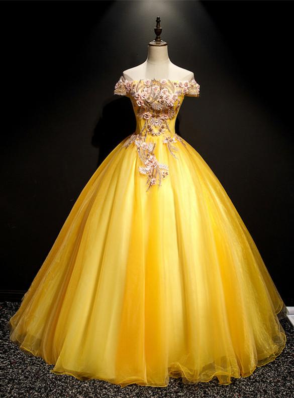 Gold Tulle Off the Shoulder 3D Appliques Quinceanera Dress