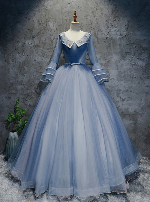 Blue Tulle Long Sleeve V-neck Pleats Beading Quinceanera Dress