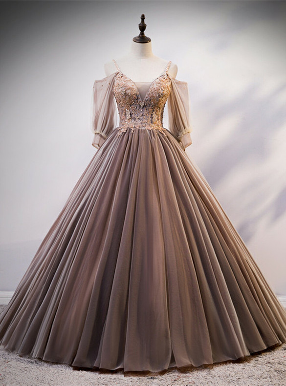 Coffee Tulle Lace Spaghetti Straps Beading Quinceanera Dress