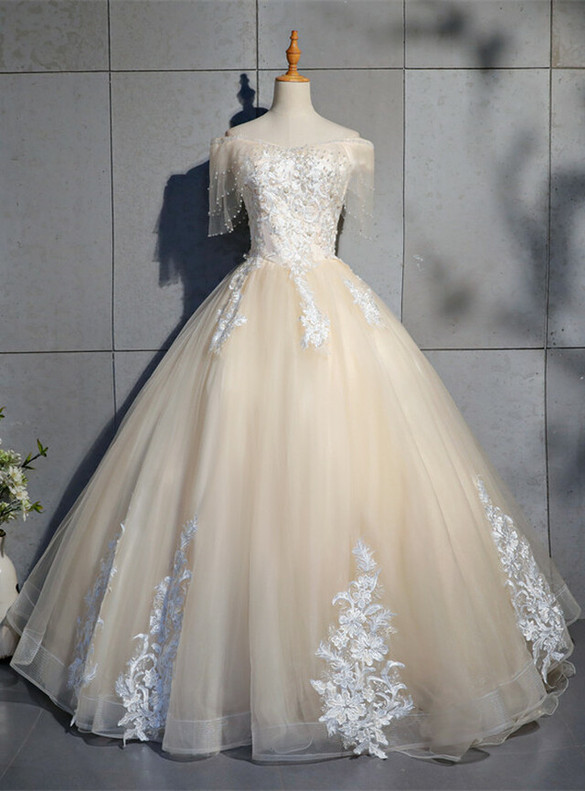 Tulle Lace Appliques Pearls Quinceanera Dress