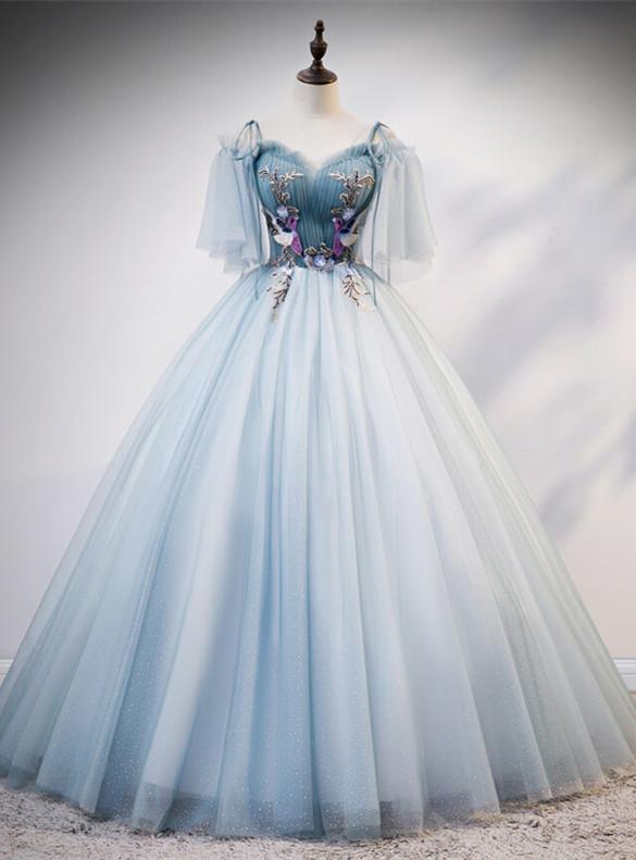 Blue Tulle Sequins Pleats Bird Appliques Quinceanera Dress