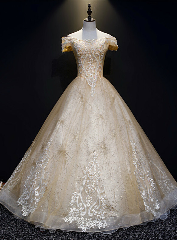 Gold Sequins Tulle Lace Appliques Beading Quinceanera Dress