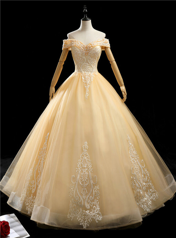 Gold Tulle Off the Shoulder Quinceanera Dress