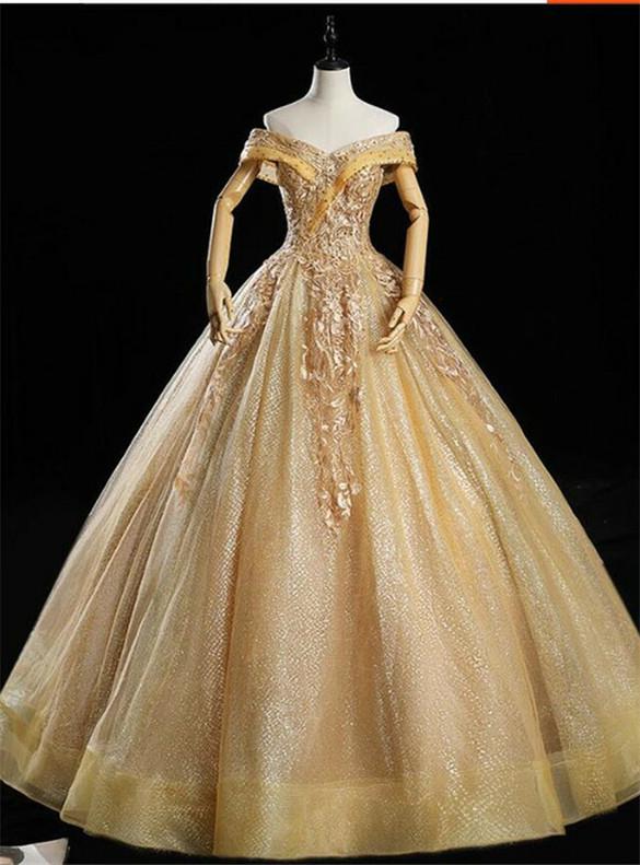 Gold Sequins Off the Shoulder Appliques Quinceanera Dress