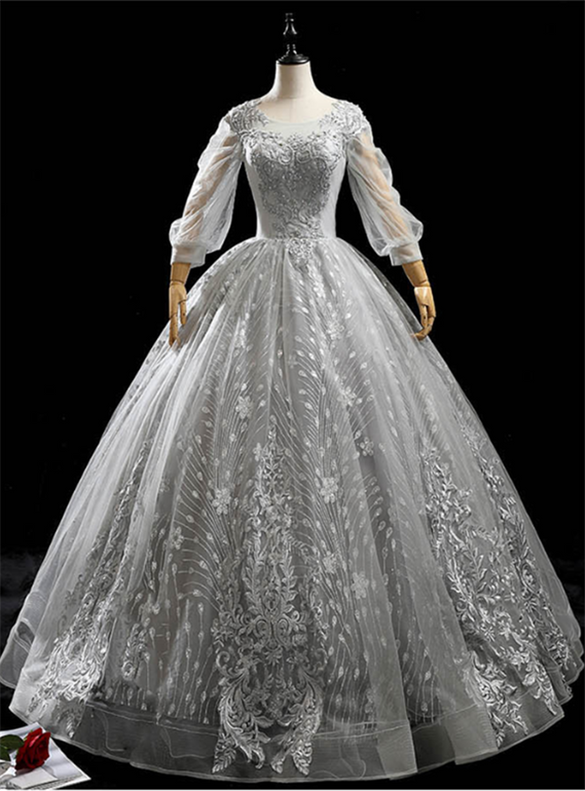 Gray Tulle Sequins Appliques Beading Quinceanera Dress
