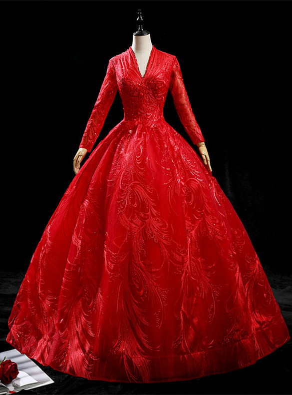 Red Tulle Lace Backless Long Sleeve Quinceanera Dress