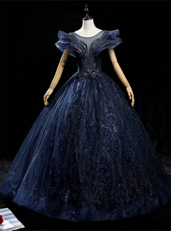 Navy Blue Sequins Backless Appliques Quinceanera Dress