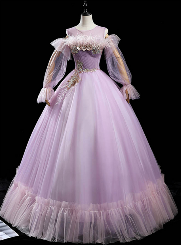 Purple Tulle Long Sleeve Sequins Feather Quinceanera Dress
