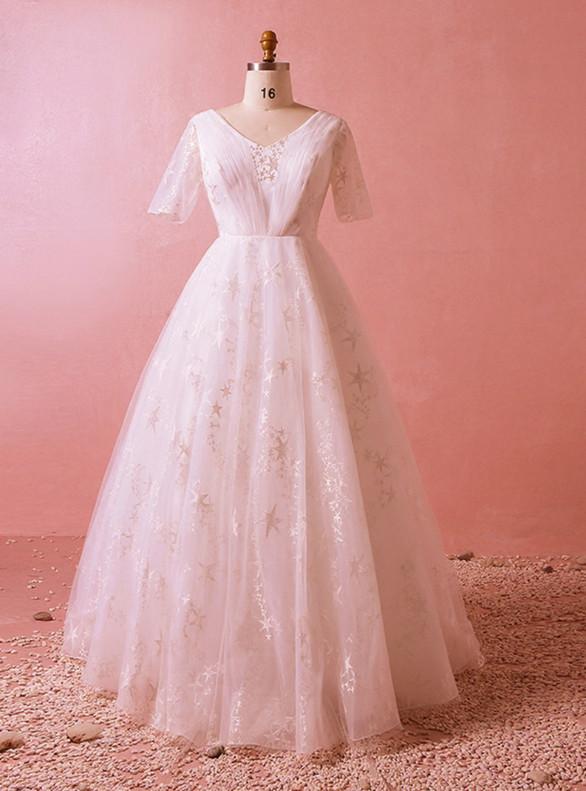 Plus Size White Tulle V-neck Short Sleeve Wedding Dress