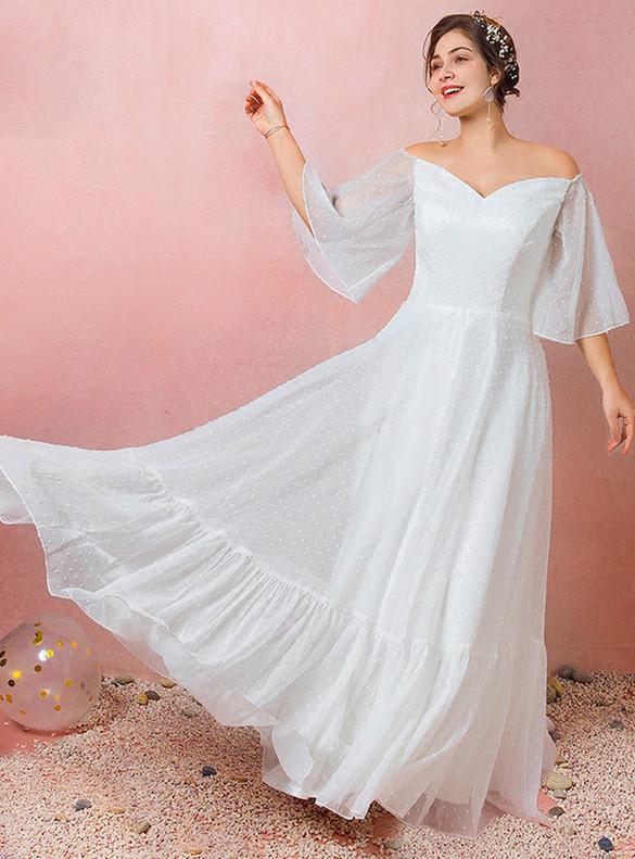 Plus Size White Chiffon Horn Sleeve Wedding Dress