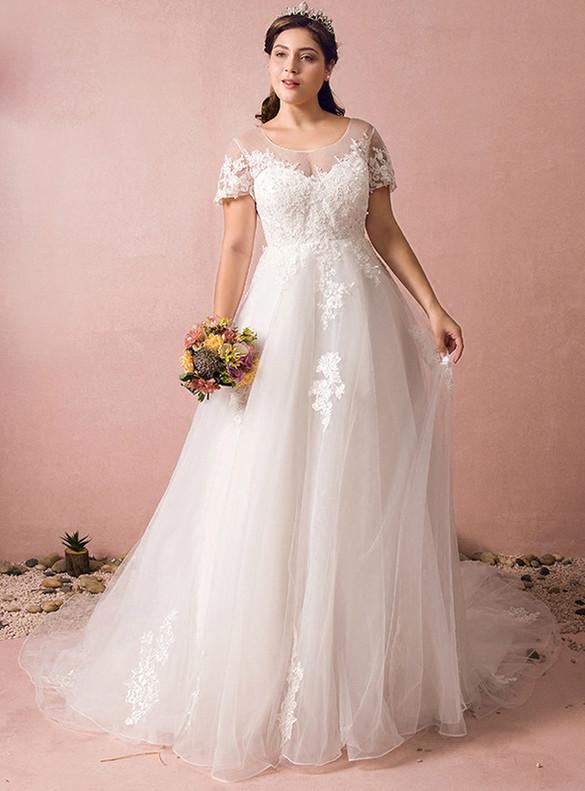 Plus Size White Tulle Appliques Beading Cap Sleeve Wedding Dress