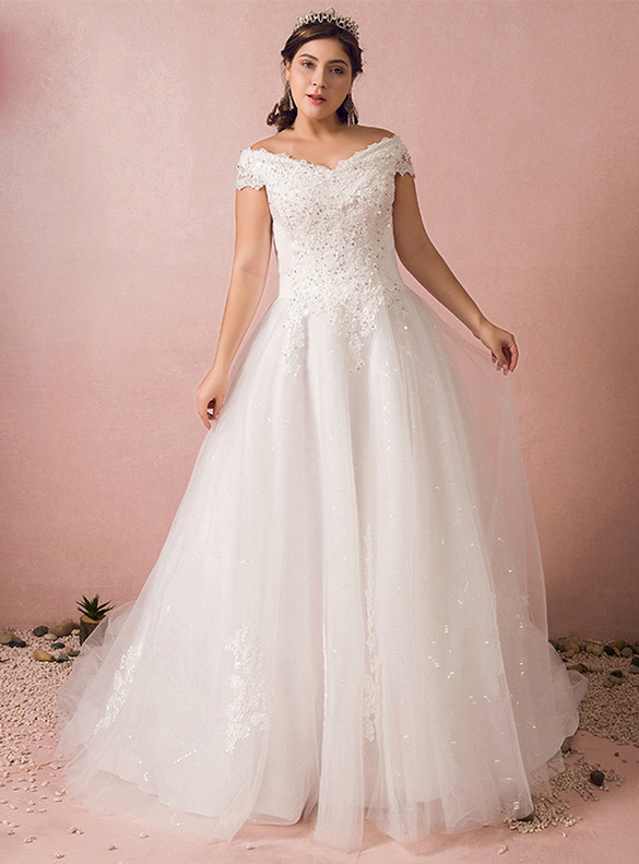 Plus Size White Tulle Appliques Beading Off the Shoulder  Wedding Dress