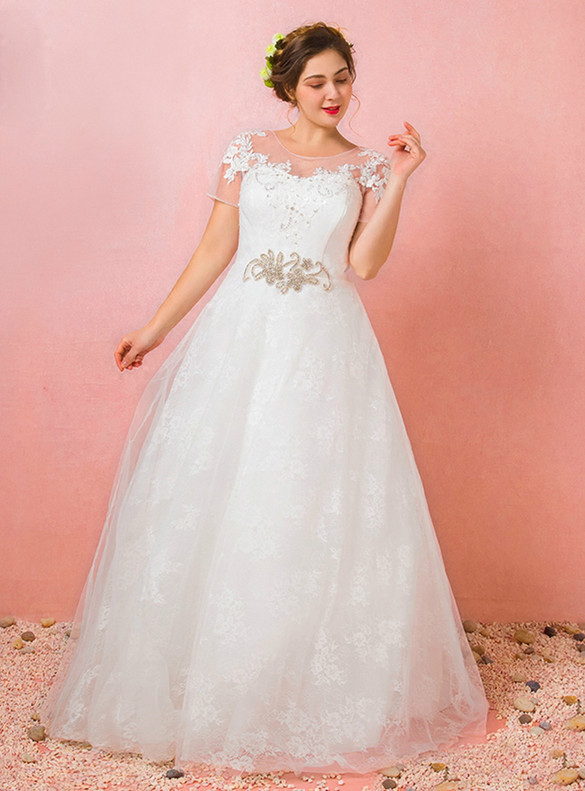 Plus Size White Tulle Appliques Beading Backless Wedding Dress