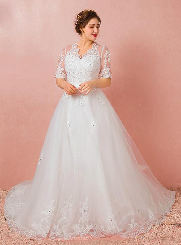Plus Size Tulle Appliques Beading Short Sleeve Wedding Dress