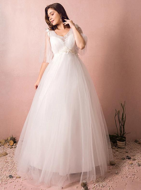 Plus Size Tulle Appliques Pleats V-neck Wedding Dress