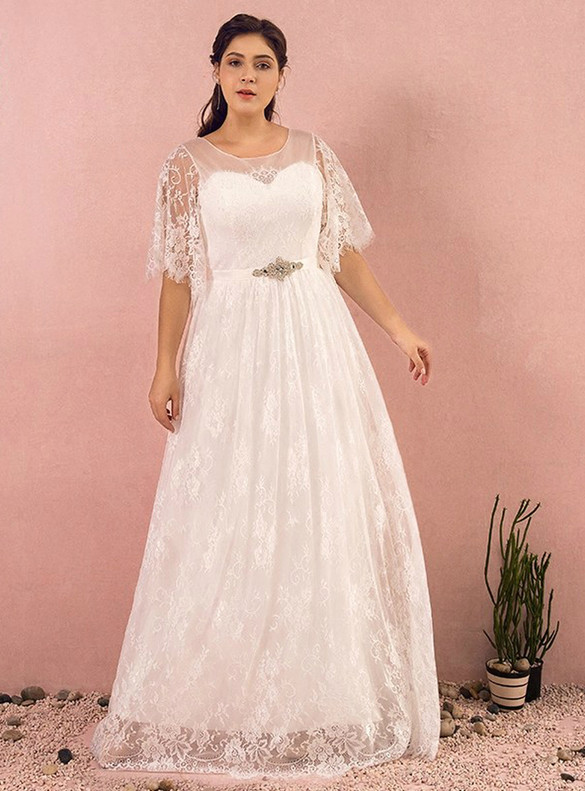Plus Size White Lace Horn Sleeve Wedding Dress