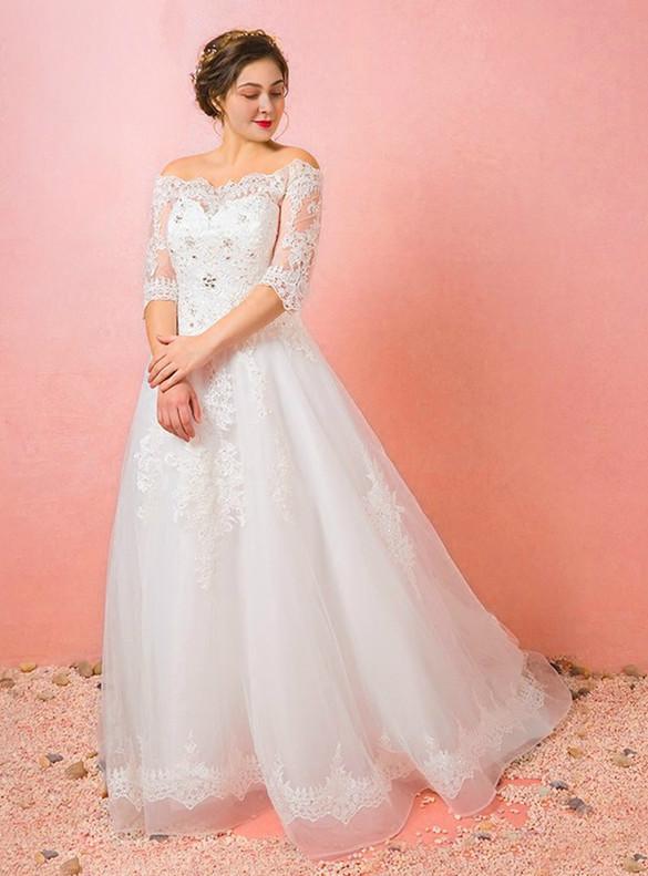 Plus Size White Appliques Beading Wedding Dress