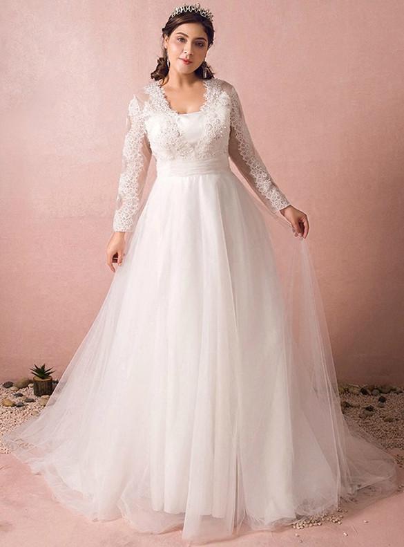 Plus Size White Lace Tulle Long Sleeve Wedding Dress