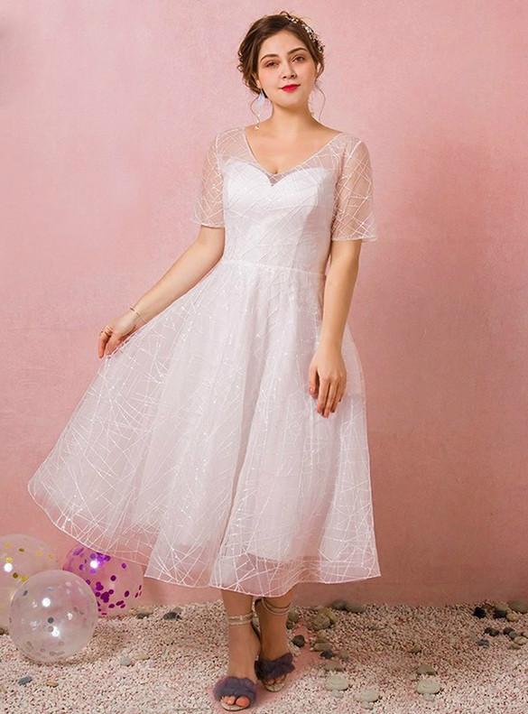 Plus Size White Tulle Short Sleeve V-neck Wedding Dress