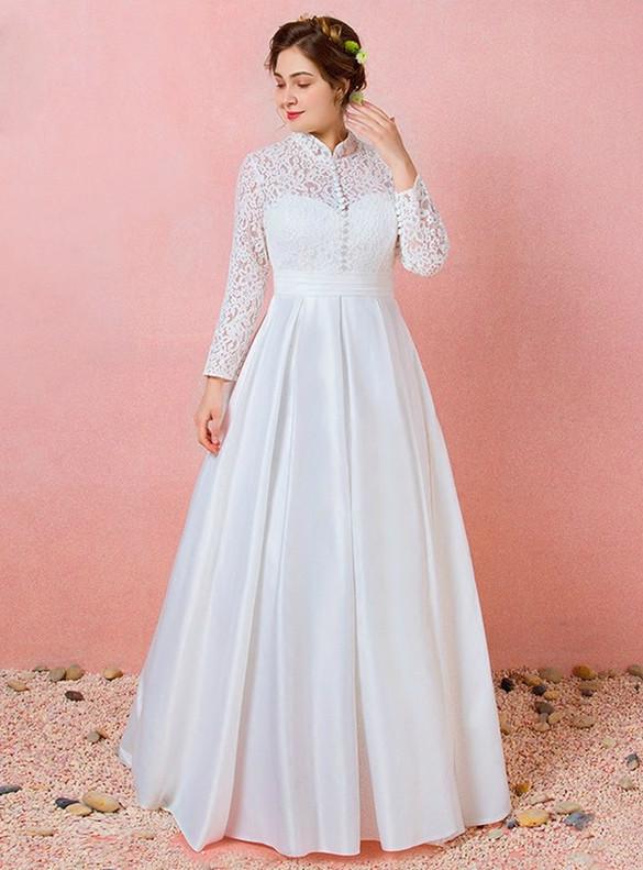 Plus Size White Lace Satin Long Sleeve Wedding Dress