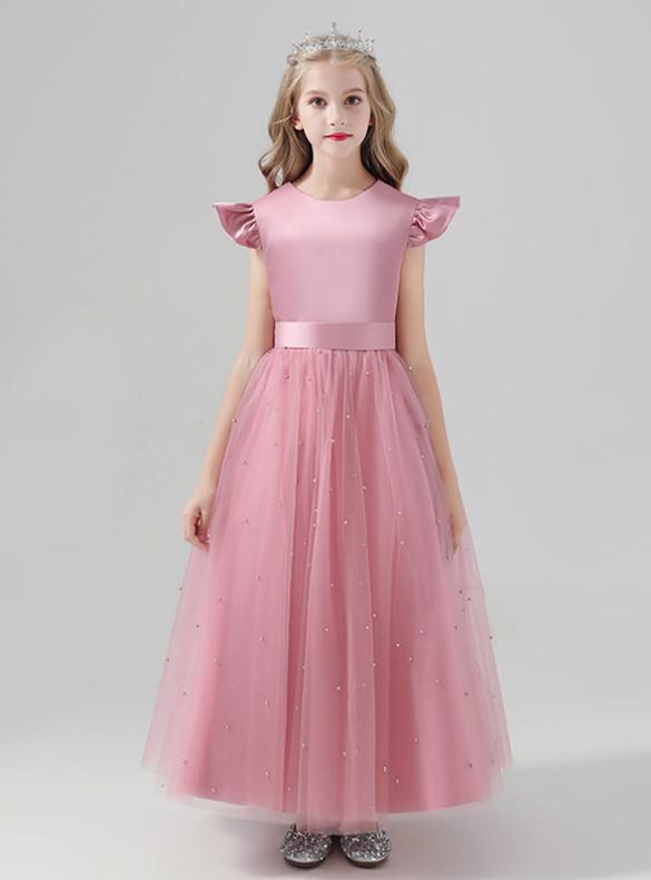 Pink Tulle Satin Pearls Flower Girl Dress
