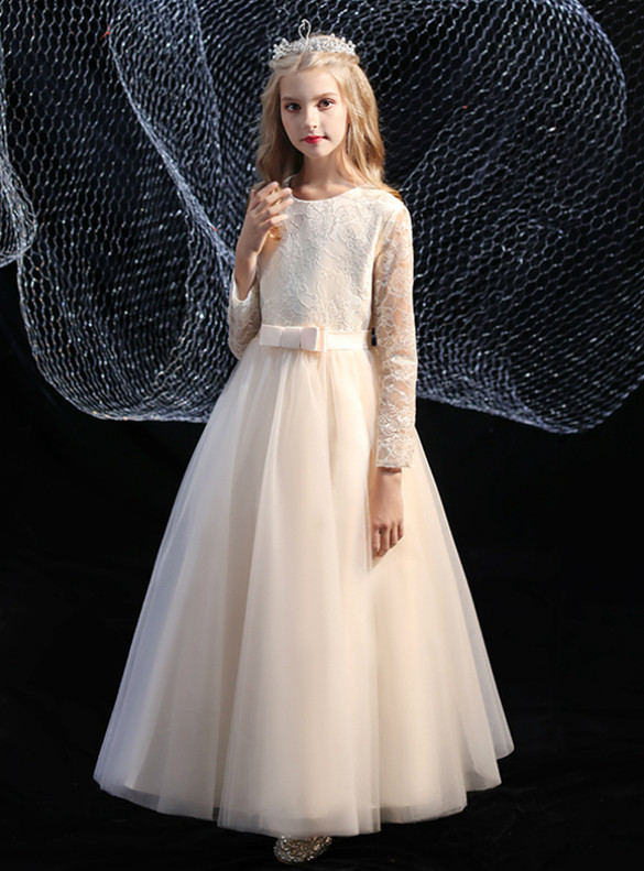 Champagne Tulle Lace Bow Flower Girl Dress