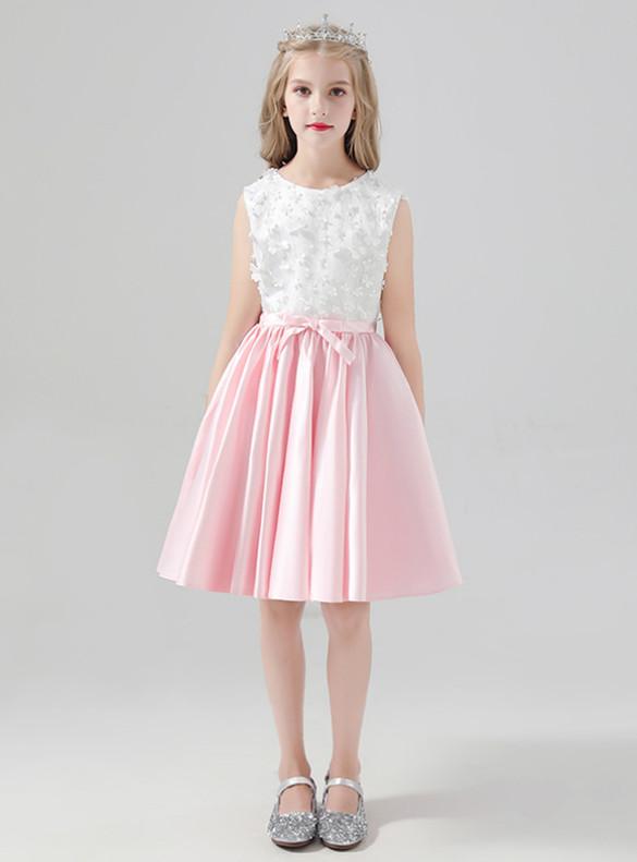 Pink White Satin Litter Appliques Flower Girl Dress