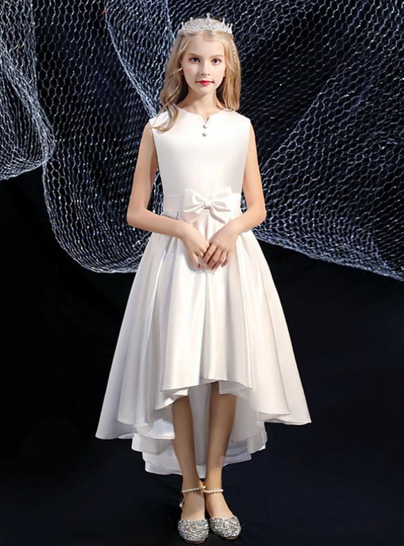 White Satin Hi Lo Bow Button Flower Girl Dress